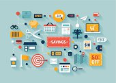 Commerce and marketing elements illustrations