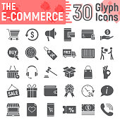E commerce glyph icon set, Online store symbols collection, vector sketches,  illustrations, internet shopping signs solid pictograms package isolated on white background, eps 10.
