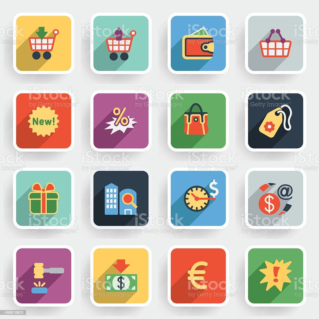 Commerce modern flat icons with color buttons on gray background.