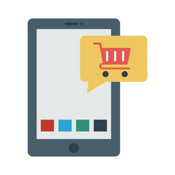 5d2afb7764 Tiendas Para Comprar Online - Vectores y Gráficos. Carrito de compras en  línea de E commerce - ilustración de arte vectorial