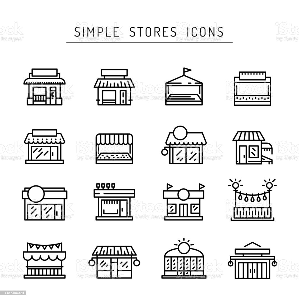 Commerce store front outline vector icon flat - Royalty-free Aberto arte vetorial
