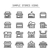 Commerce store front outline vector icon. Illustration building facade shop minimalistic flat style. Icon. Icons of commercial buildings and premises for shops and public service companies