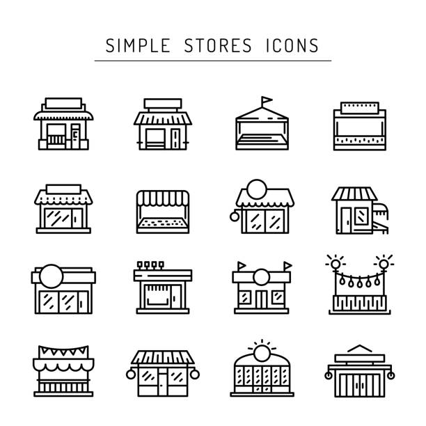 ticaret mağaza ön anahat vektör simge düz - store stock illustrations