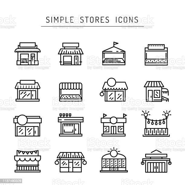 Commerce Store Front Outline Vector Icon Flat - Arte vetorial de stock e mais imagens de Aberto