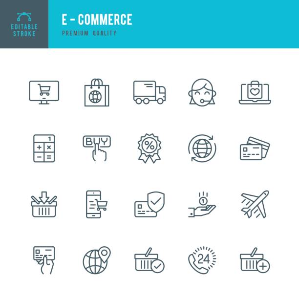 E - Commerce  - Thin Line Icon Set Set of E-Commerce thin line vector icons. online shopping stock illustrations