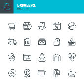 E - Commerce & Shopping - thin linear vector icon set. Editable stroke. Pixel Perfect. 20 linear icon. The set contains icons such as Shopping, E-Commerce, Basket, Store, Cashback, Discount, Shopping Cart, Delivering, Credit Card, Courier, Money, Refund, Support, Warehouse and so on.