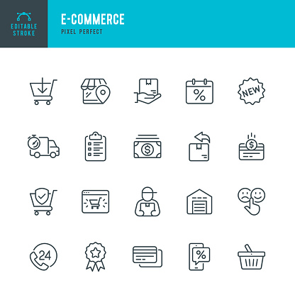 E - Commerce - thin linear vector icon set. Editable stroke. Pixel perfect. The set contains icons such as Shopping, E-Commerce, Store, Cashback, Discount, Shopping Cart, Delivering, Courier and so on.