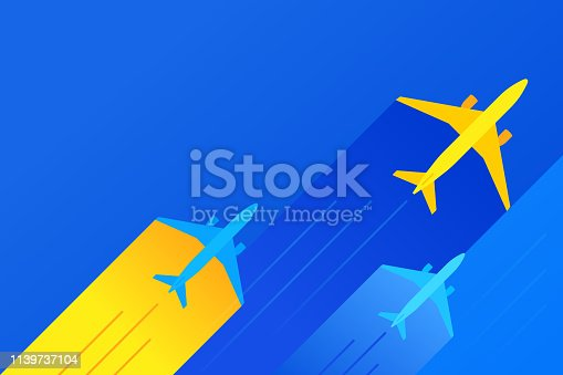 Commercial air travel airplane flights background banner with space for your copy.