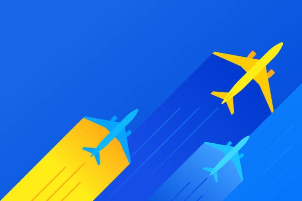 Commercial Air Travel Background Commercial air travel airplane flights background banner with space for your copy. airport silhouettes stock illustrations