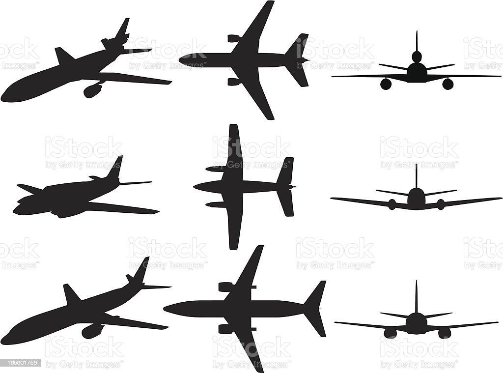 Ilustración de Siluetas De Aviones Comerciales y más banco de ...