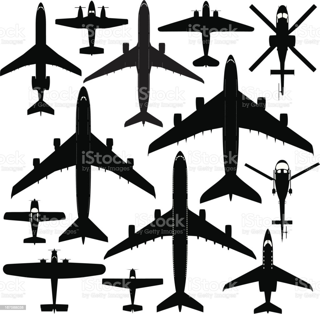 Commercial Aircrafts vector art illustration
