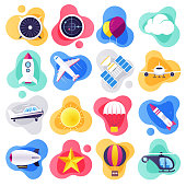 Commercial airline travel liquid flat flow style concept symbols. Flat design vector icons set for infographics, mobile and web designs.