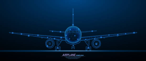 Commercial airliner concept Abstract polygonal light of commercial airliner front veiw. Business wireframe mesh spheres from flying debris. Travel concept. Blue structure style vector illustration. airport backgrounds stock illustrations