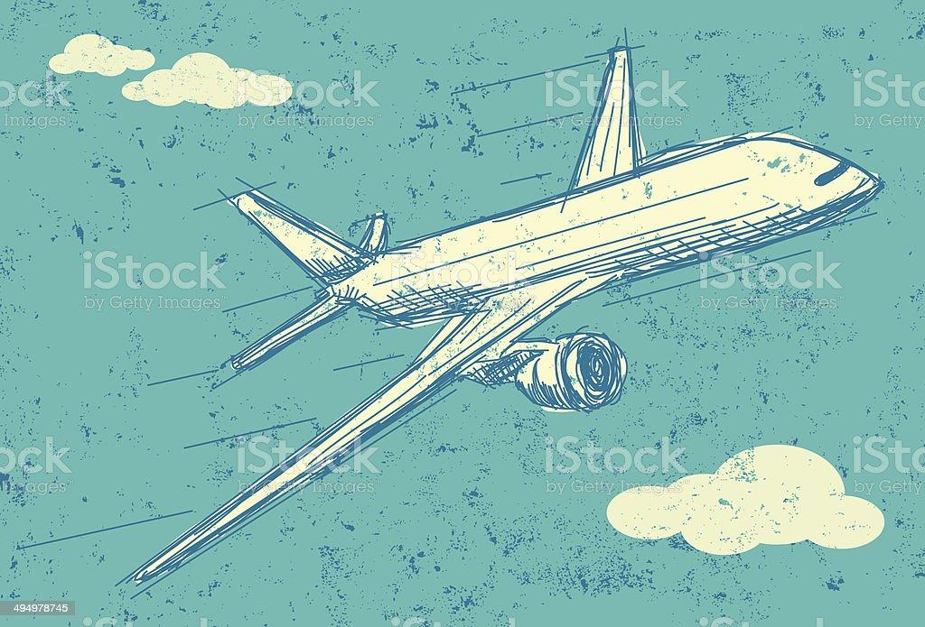 Avión de pasajeros en vuelo - ilustración de arte vectorial