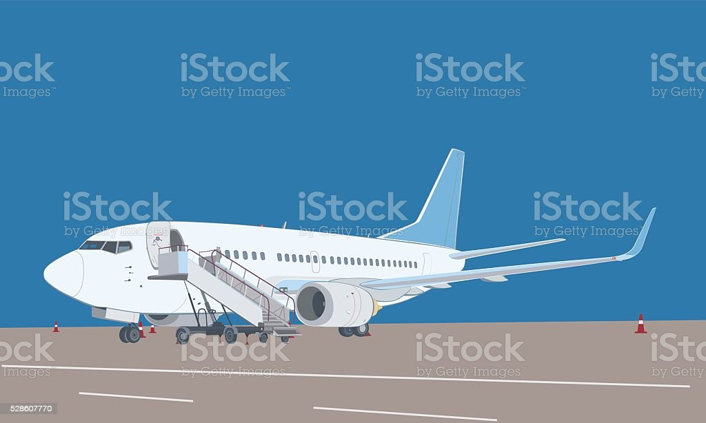 Commercial airliner with ladder. vector art illustration