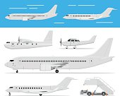 Commercial airplane and private jets