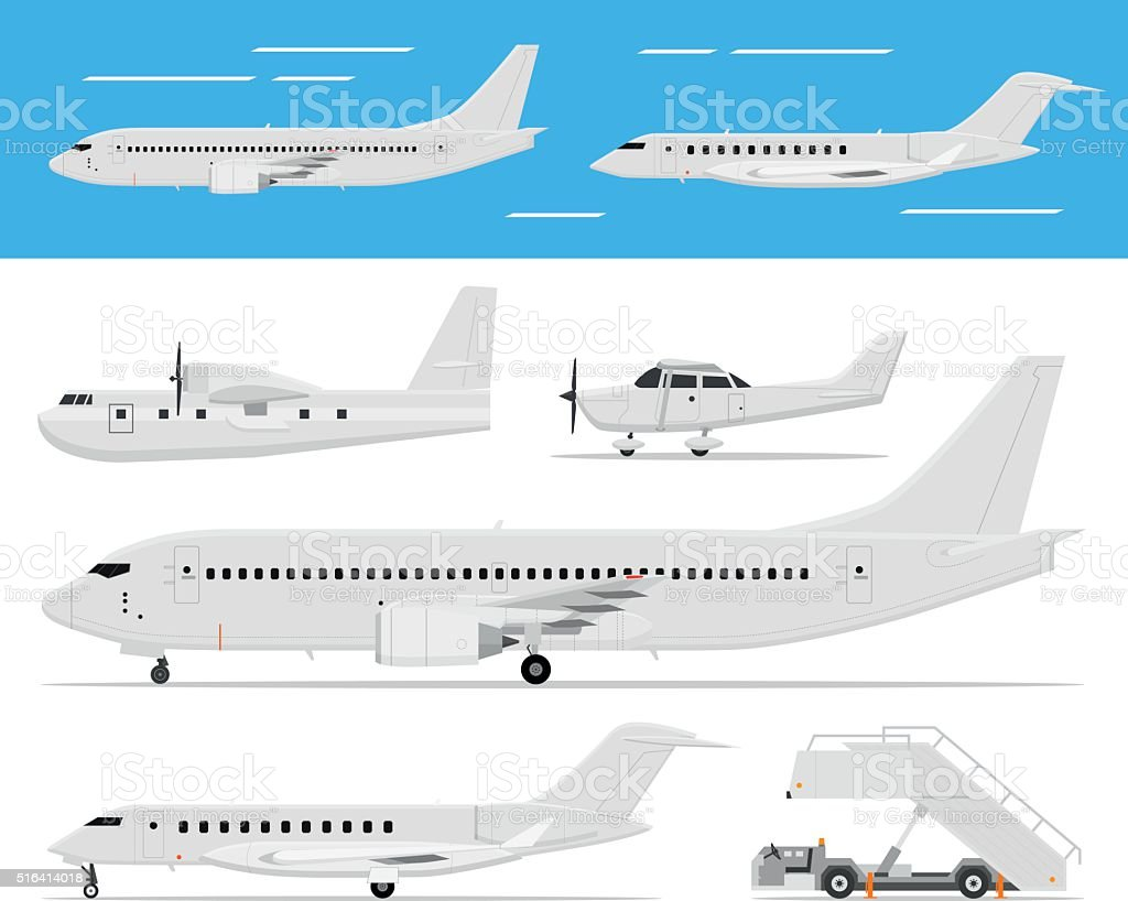 Commercial airplane and private jets vector art illustration