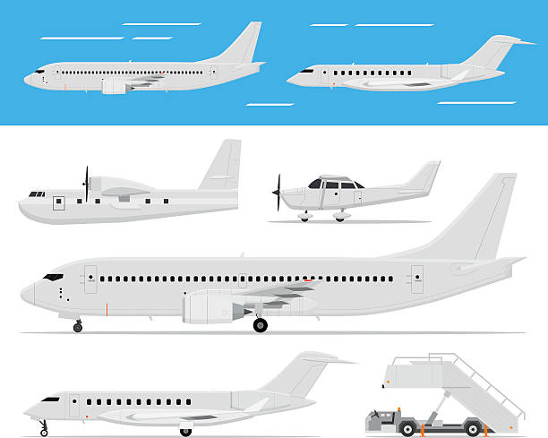 Commercial airplane and private jets Modern and classic passenger airplanes, private business jets and single engine air planes standing and flying, side view, isolated. Vector flat web icons private airplane stock illustrations