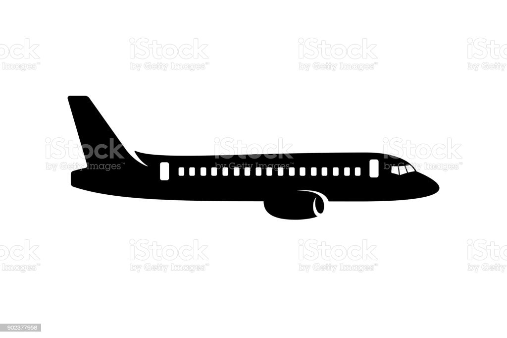 Commercial airplane silhouette vector art illustration