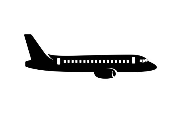 illustrations, cliparts, dessins animés et icônes de silhouette de l'avion commercial - avion