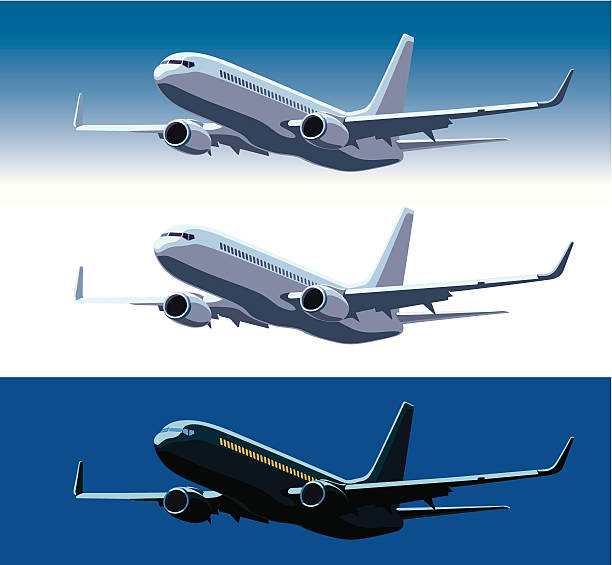 Commercial airplane Large commercial passenger airplane flying in the blue sky aviation and environment summit stock illustrations