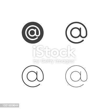 Commercial At Sign Icons Multi Series Vector EPS File.