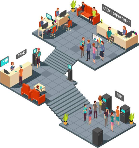 illustrations, cliparts, dessins animés et icônes de banque commerciale du bureau 3d isométrique intérieur avec des gens d'affaires à l'intérieur. opérations bancaires et finances vecteur concept - hall d'accueil