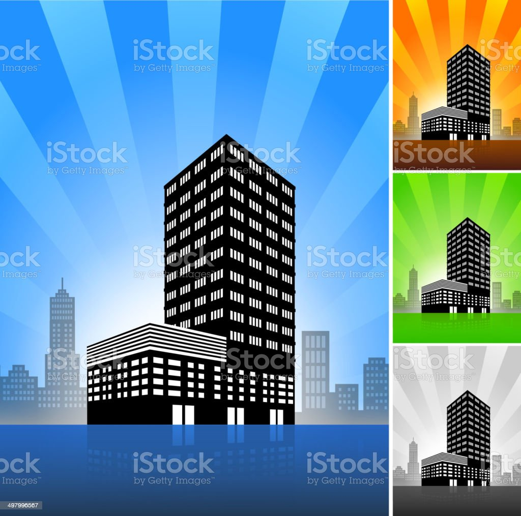Commercial Building Color Set royalty-free stock vector art
