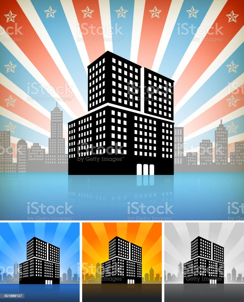 Commercial Building Set on panoramic city skyline Background royalty-free stock vector art