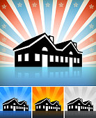 Royalty free vector art of a Commercial Building Set against a star burst background. The commercial building icon is black. The background has glow effect. Building has a shadow. Image works for real estate concepts. Icon download includes vector art and jpg file.