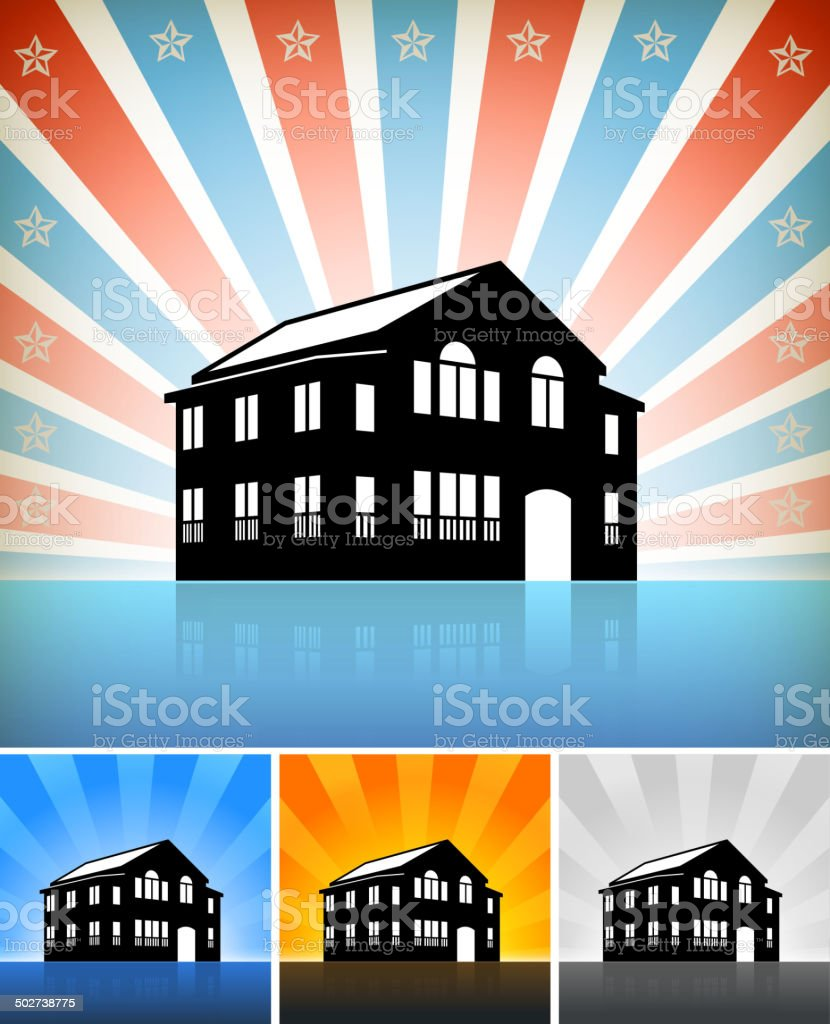 Commercial Building Set with Stars vector art illustration