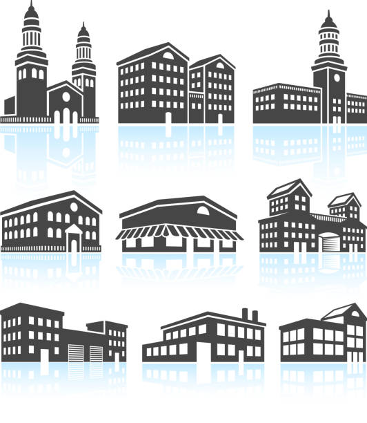 Commercial Buildings Black & White Set Commercial Buildings Black & White Set campus stock illustrations