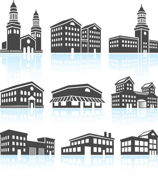 Kommerzielle Gebäude & Schwarz Weiß Set – Vektorgrafik