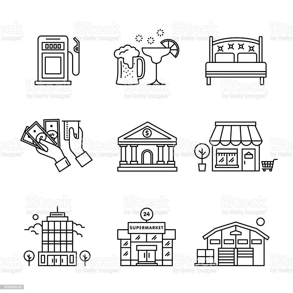 Commercial buildings sings set vector art illustration