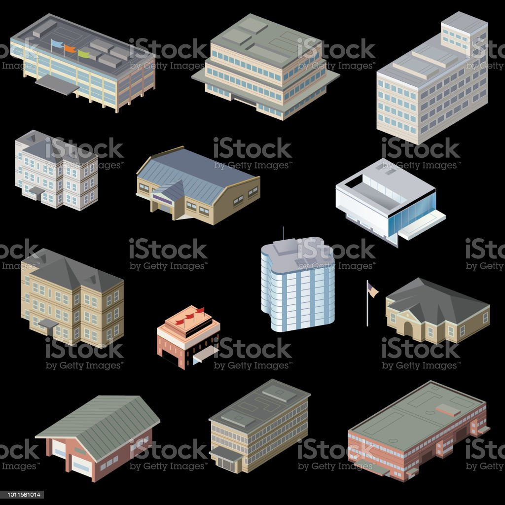 Commercial buildings vector art illustration