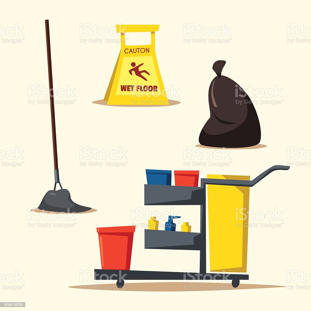 Commercial cleaning equipment with cart. Cartoon vector illustration vector art illustration