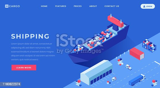 Commercial conveyance landing page vector layout. Shipyard, harbor website homepage interface idea with isometric illustrations. Goods shipping business web banner, webpage cartoon concept