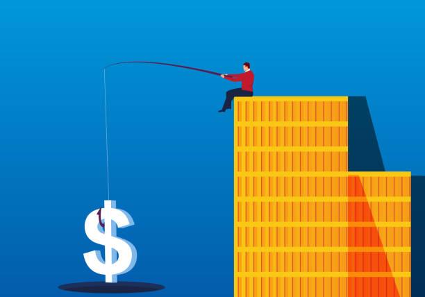 commercial fishing trap - evil money stock illustrations, clip art, cartoons, & icons