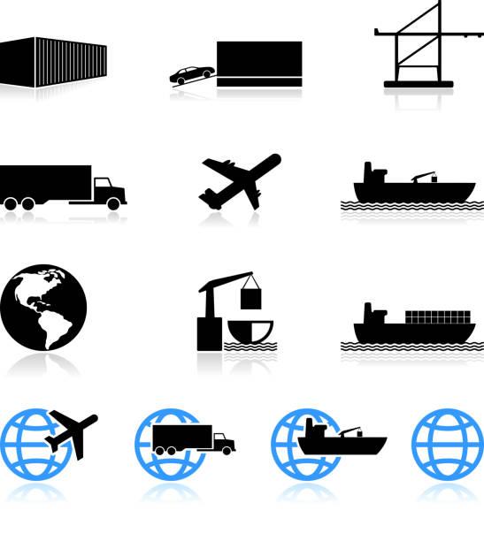 ilustrações de stock, clip art, desenhos animados e ícones de comercial de transporte de mercadorias preto e branco vector conjunto de ícones - porto