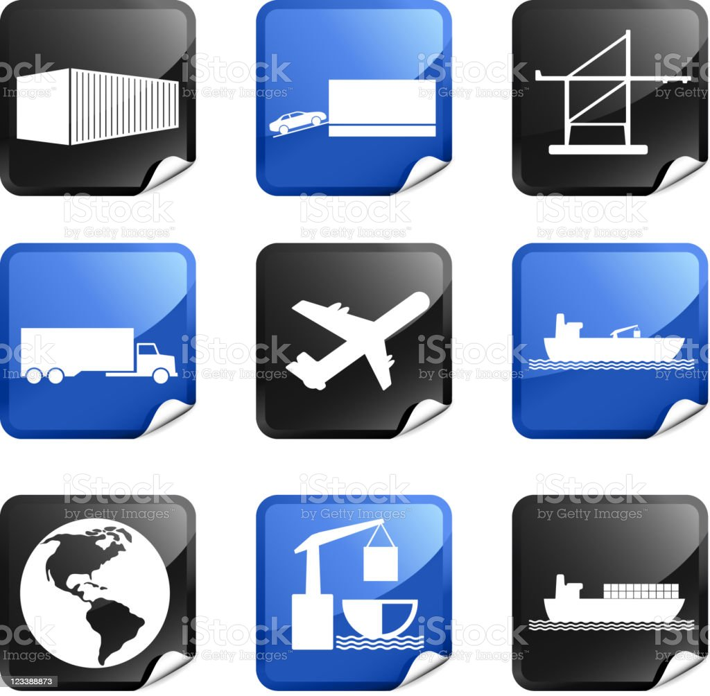 commercial freight shipping royalty free vector icon set stickers royalty-free commercial freight shipping royalty free vector icon set stickers stock vector art & more images of airplane
