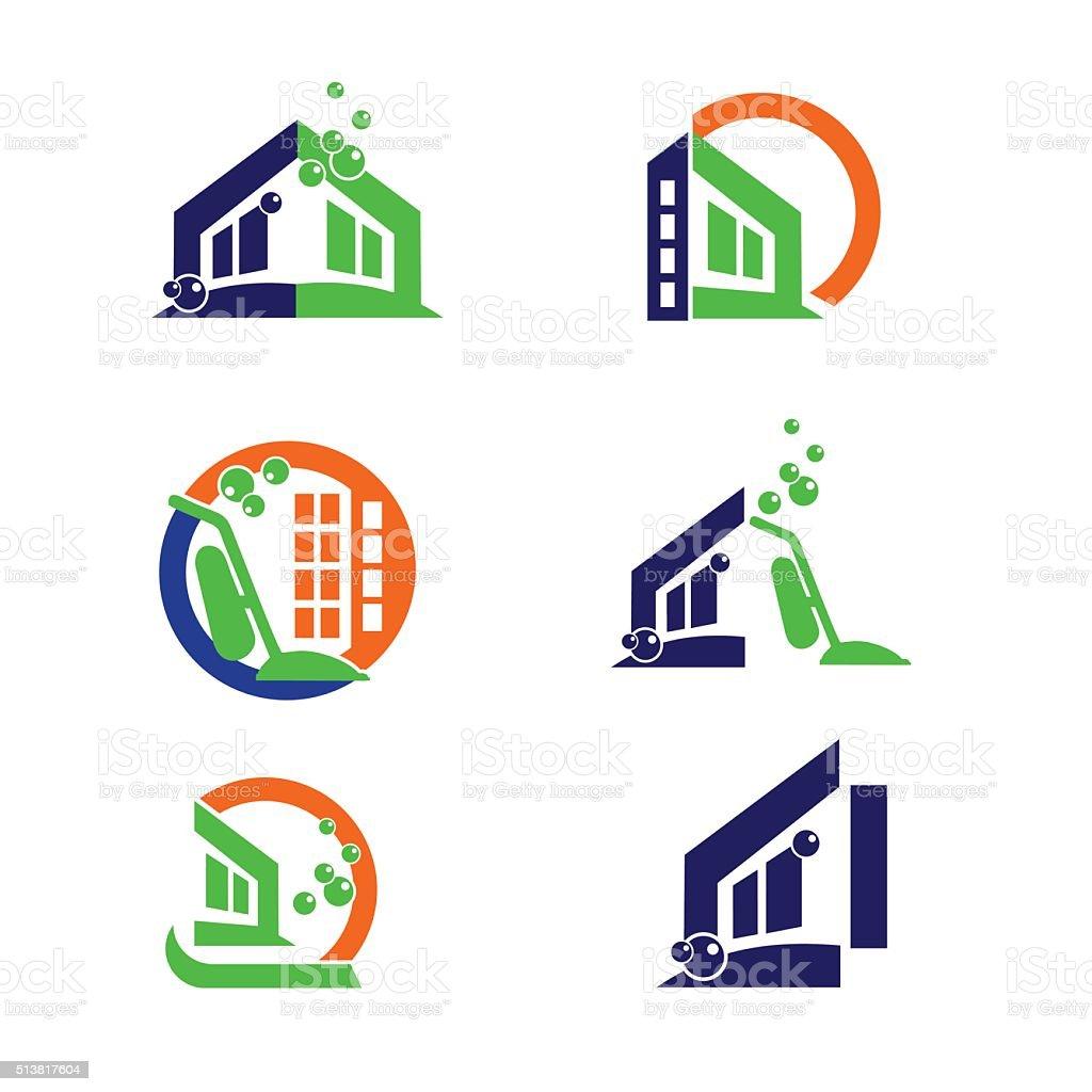 Logotipo De Casa De Limpieza Comercial Y Aplicaciones Iconos - Arte ...