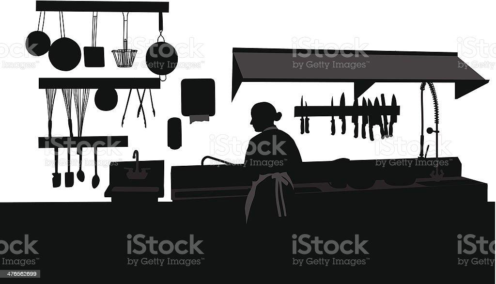 Commercial Kitchen vector art illustration