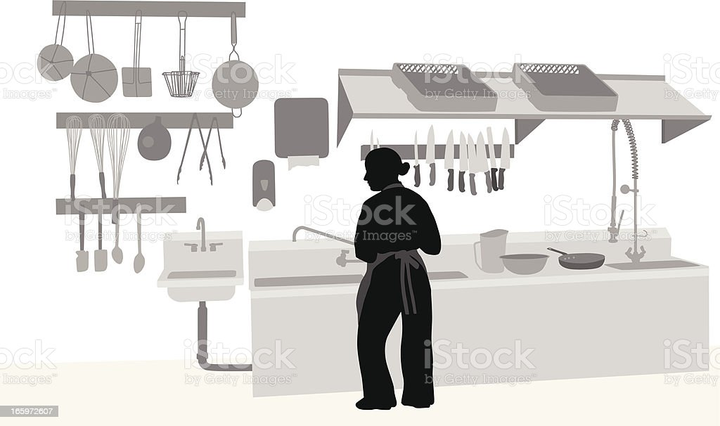 Commercial Kitchen Vector Silhouette royalty-free stock vector art