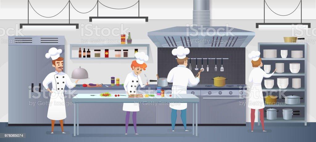 Kommersiella kök med Cartoon tecken kock - Royaltyfri Akademikeryrke vektorgrafik
