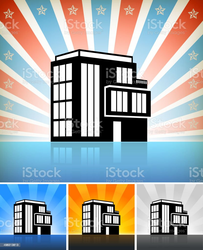 Commercial Office Building Set with Stars royalty-free stock vector art