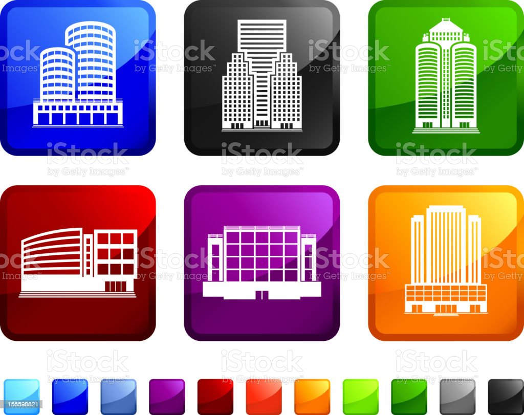 Commercial Real Estate Skyscrapers royalty free vector icon set stickers royalty-free commercial real estate skyscrapers royalty free vector icon set stickers stock vector art & more images of architecture