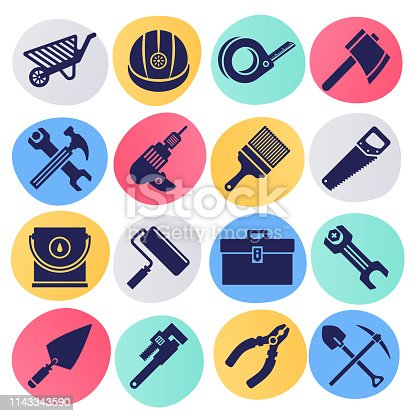 Commercial and residential construction liquid style silhouette symbols on color background. Vector icons set for infographics, mobile or web page designs.