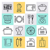 Modern commercial restaurant kitchens outline style concept with symbols. Line vector icon sets for infographics and web designs.