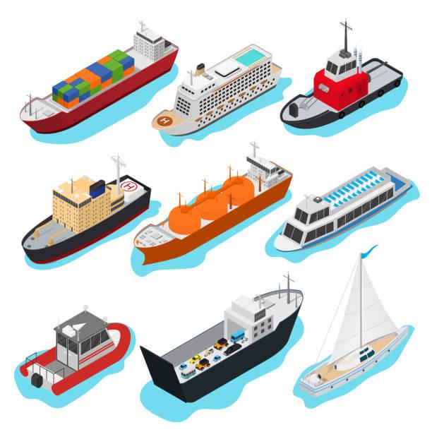 ilustrações de stock, clip art, desenhos animados e ícones de commercial sea ships signs 3d icon set isometric view. vector - fishing boat