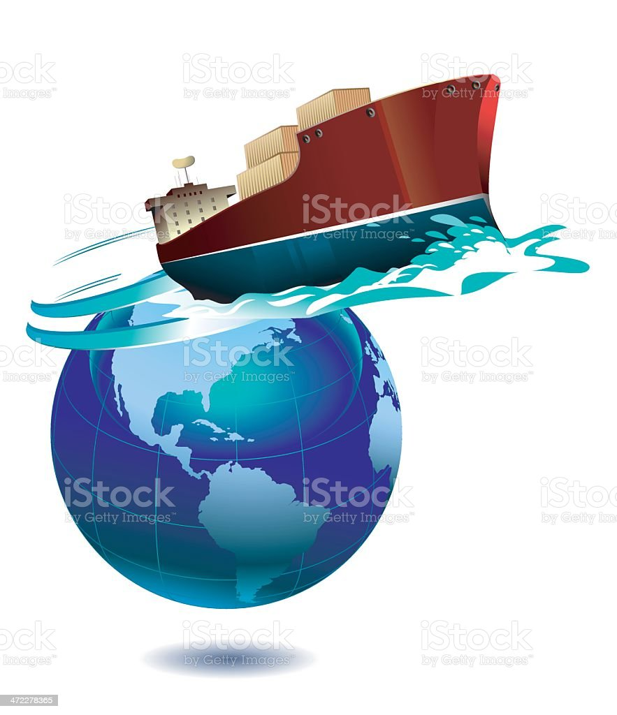 Commercial  ship royalty-free commercial ship stock vector art & more images of blue
